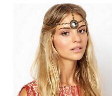 Women Fashion Metal Rhinestone Head Chain Jewelry Headband Head Piece Flower AG