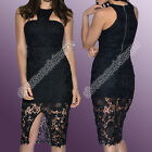 Dress Woman Sexy Little Evening Lace Slit Glamorous Crew Neck Scoop Neck Party