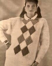 FL87 - Knitting Pattern - Lady's Diamond Pattern Chunky Knit Jumper