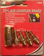 "5 pc Brass Quick Connect Air Hose Coupler Set Kit 1/4"" NPT Male Female"