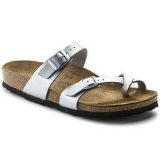 Birkenstock Women's Mayari Silver Birko-Flor Cork Slide Sandals Sizes 37-42 (R)