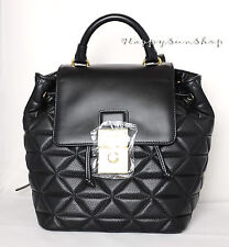 TED BAKER Gaile Quilted Luggage Lock Leather Backpack Black