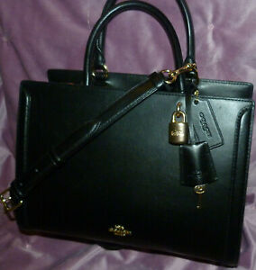 PRE COACH ZOE BLACK SMOOTH CALF LEATHER CROSSBODY HANDBAG CARRYALL PURSE F49500