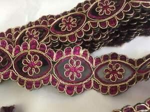 Cerise Fancy Sequin Lace Trim Bridal Wedding Ribbon Craft NET Border 1yd x 4.5cm