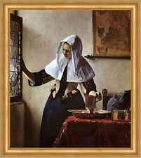 Junge Frau mit Wasserkrug Vermeer Haube Landkarte Fenster Still Bütten H A3 0283