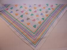 White With Rainbow & Hearts Pattern Kerchief Scarf Bandana Wrap Headband