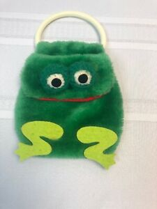 Vintage Russ Berrie Child's purse Frog plastic handle small clutch toy