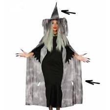 Long Gris de Sorcière Cap de Robe & Chapeau Halloween Déguisement pour Femmes