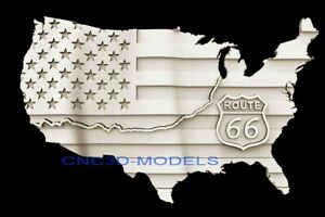 3D STL Models for CNC Router Carving Artcam Aspire Flag USA Map Route D500