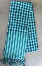 Krama Green Scarf Cotton Traditional Khmer Cambodia Woven Hand Mixed Asian 94