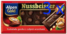 Alpen Gold NUSSBEISSER Whole Nuts DARK Chocolate Bar 3 x100g Shipping Worldwide