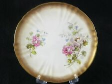 Antique Moore Brothers Plate Peony Flowers Gold Rim England 1888 Hand Painted