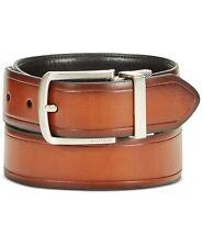 $125 Tommy Hilfiger Men Black Brown Faux-Leather Reversible Buckle Dress Belt 34