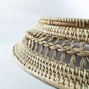 Art rattan round craft hand made wall decor home farm boho nature tray weave