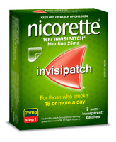 Nicorette 16hr Invisipatch Patches Step 1 25mg 7 Pack QUIT STOP SMOKING AID NEW