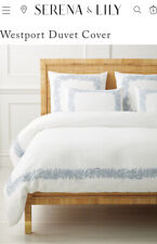 NEW Serena & Lily 'WESTPORT' KING / CAL KING Duvet Cover - Coastal Blue ~ $498