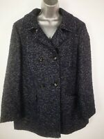WOMENS M&CO NAVY BLUE BUTTON UP DOUBLE BREASTED WOOL BLEND PEA COAT JACKET UK 18
