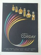 1946 CORDAY frenzy jet possession Fame Toujours Moi Tzigane perfume bottles ad