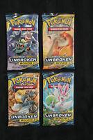Pokemon Unbroken Bonds - 4x Booster Packs Lot - Art Set - Factory Sealed