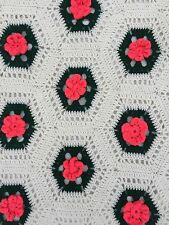 Handmade Acrylic Afghan Throw Shabby Chic Roses Pink White