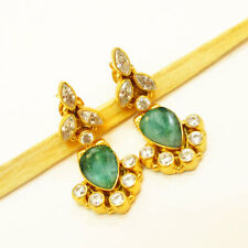 Beautiful Cubic Zircon & Emerald 925 Sterling Silver Gold Plated Earrings GIFT