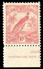 "New Guinea 1931 ""Bird of Paradise"" 10s bright pink IMPRINT superb MNH. SG 161."