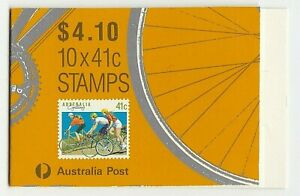 1989 AUSTRALIA STAMP BOOKLET 'SPORT DEFINITIVE - CYCLING' - PANE of 10 x 41c MNH