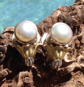 $1,295 LAGOS CAVIAR Arcadian 18K Yellow Gold Sterling 12mm Mabe Pearl Earrings