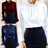 Ladies Look Satin Ruffled Neck Victorian Shirt Office Women Plus Size Blouse Top
