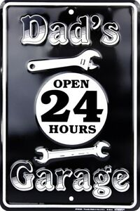 """Dad's Garage Open 24 Hours 8"""" x 12"""" Metal Sign ↔ Embossed Wall Decor *US MADE*"""