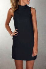 UK High Neck Womens Blouse Tops Summer Sleeveless Ladies Mini Vest Shirt Dress