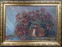 Natura Morta Herbstblumen Cornice Oro Antico ° Gründerzeit Vaso e Tavolo Interno