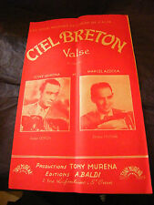 Partition Ciel Breton Tony Murena Marcel Azzola 1956 Music Sheet