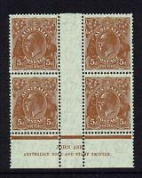 AUSTRALIA  PRE-DECIMAL  KGV  5d C of A WMK....JOHN ASH IMPRINT BLOCK OF 4...MUH