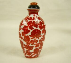 Vintage Oriental Perfume Scent / Snuff Bottle with Stopper - Red Floral
