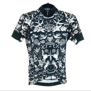 Cycology Velo Tattoo Print Woman's Cycling Jersey Top Black White