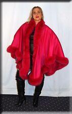 New Fuschia Pink Cashmere Cape Fuschia Fox Fur Trim Efurs4less