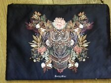 Rocky Star Large Clutch Make-up Bag Small Laptop Case Silky Fabric Black BN