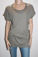UCW Brand Olive Beaded Shoulder Short Sleeve Tee Size 14-16 BNWT #SX04