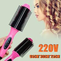 Pro 2in1 Electric Ceramic Hair Straightener Curler Brush Comb Salon Styling Tool