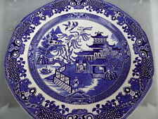 Willow   Blue & White  Shaped Edge  Burleigh Ware BURSLEM  Salad Plate 24 cm VGC