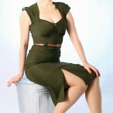 Stop Staring Majorette Dress XL 12 14 16 army green wiggle  retro PinUp 40s 50s