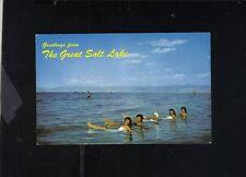 SWIMMERS AT SUNSET BEACH GREAT SALT LAKE UTAH POSTCARD MIKE ROBERTS COLOR