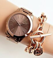 Original Michael Kors uhr damenuhr mk3418 slim runway farbe bronze rose gold neu