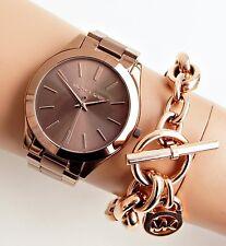 Original Michael Kors Uhr Damenuhr MK3418 Slim Runway Farbe:Bronze/Rose Gold NEU