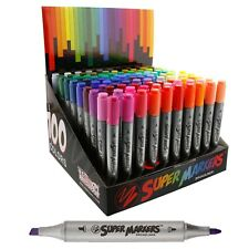 Super Markers Twin-Tip Broad-Liner Marker Set-100 Unique Colors-No Duplicates...
