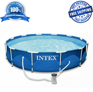 Intex 12ft X 30in Metal Frame ABOVE GROUND Pool Set New !