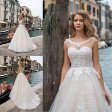 Lace Bohemia Applique Lace Ball Wedding Dresses Princess White/Ivory Bridal Gown