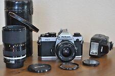 Nikon FM2 35mm Camera w/ Nikkor Ais 35-70mm f/3.5 & Tokina EL 28mm f/2.8 Lenses