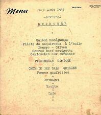 Menu ancien du 2 Août 1952 déjeuner Paquebot Foch